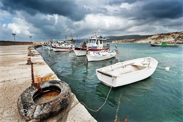 Fishing Boat Photograph - Fishing Boats Along The Harbour Wall by Lee Stevens