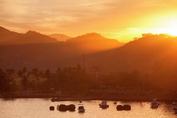 Manzanillo Photograph - Fishing Boats And Hills At Sunrise by Holger Leue