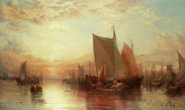 Wall Art - Painting - Fishing Boats And Shipping In Rotterdam In An Evening Calm by James Webb