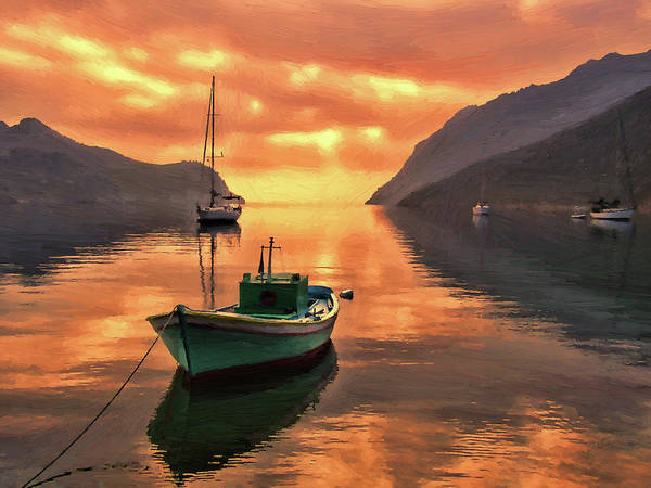 Painting - Fishing Boats At Sunset Simi Greek Islands-dwp40406001 by Dean Wittle