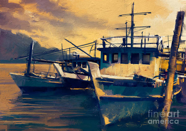 Wall Art - Digital Art - Fishing Boats In Harbor At Evening,old by Tithi Luadthong