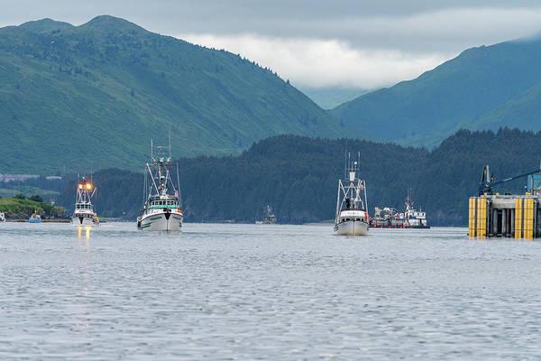 Photograph - Fishing Boats Leaving Kodiak by Mark Hunter