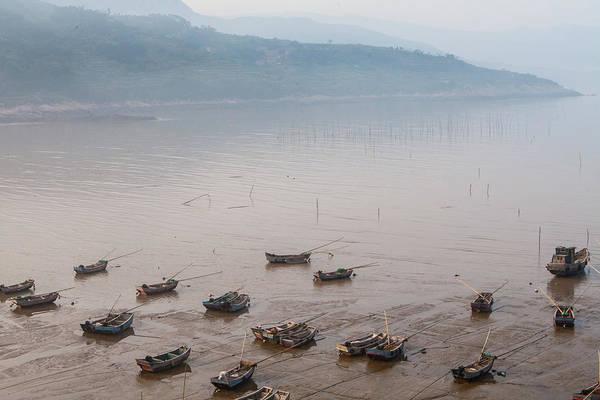 Fishing Boat Photograph - Fishing Boats On Foggy Beach by Wulingyun