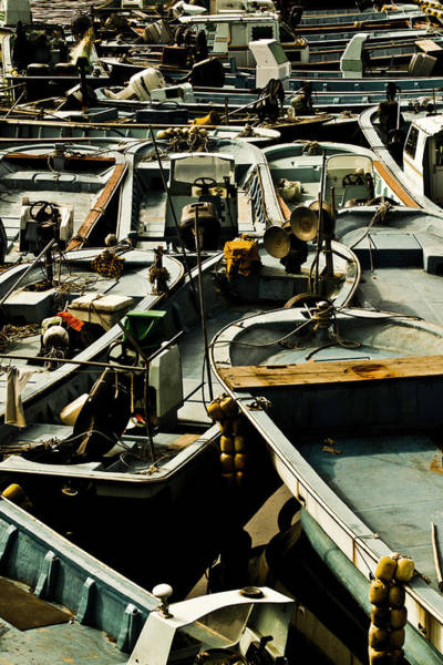 Fishing Boat Photograph - Fishing Boats Packed Together by Image By David Koiter