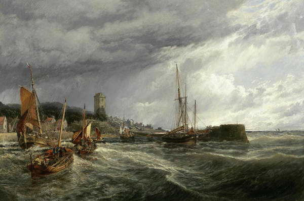 Wall Art - Painting - Fishing Boats Running Into Port, Dysart Harbour by Samuel Bough