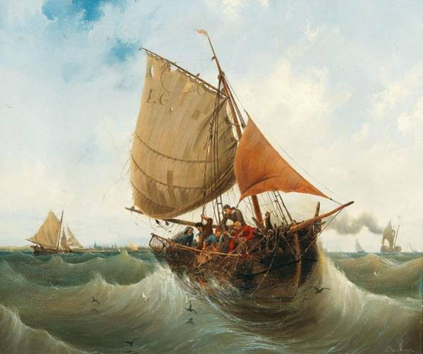 Wall Art - Painting - Fishing By The Coast By Ambroise Louis Garneray by Ambroise Louis Garneray