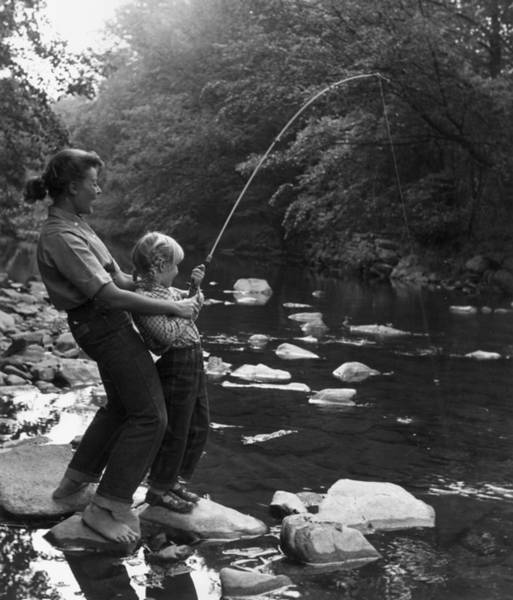 Sport Fishing Photograph - Fishing For Fun by Hulton Archive