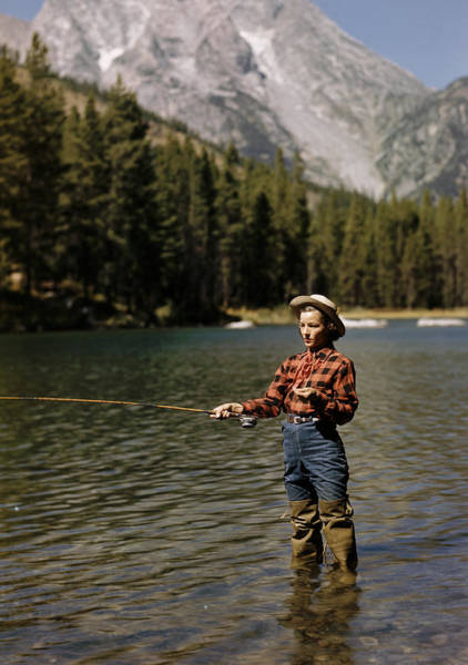 Jackson Hole Wall Art - Photograph - Fishing For Trout by Alfred Eisenstaedt