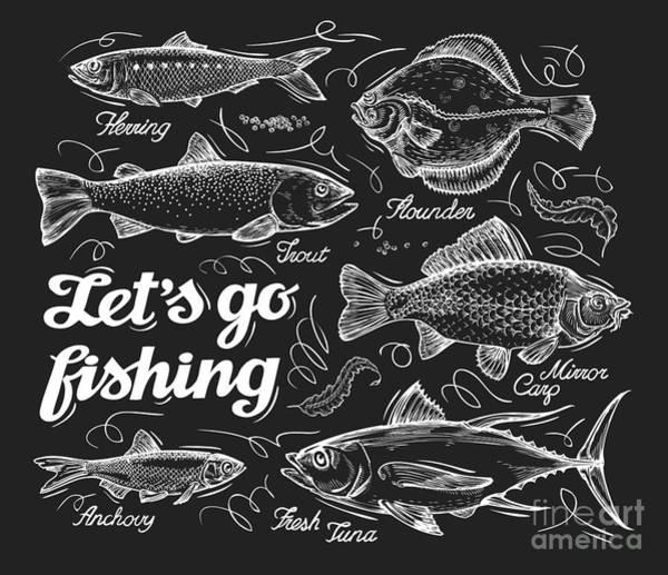 White Background Wall Art - Digital Art - Fishing. Hand Drawn Sketch Fish by Ava Bitter