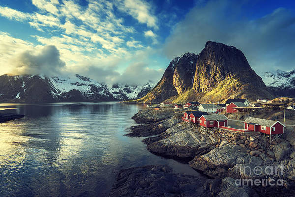 Fjord Photograph - Fishing Hut At Spring Sunset - Reine by Esb Professional