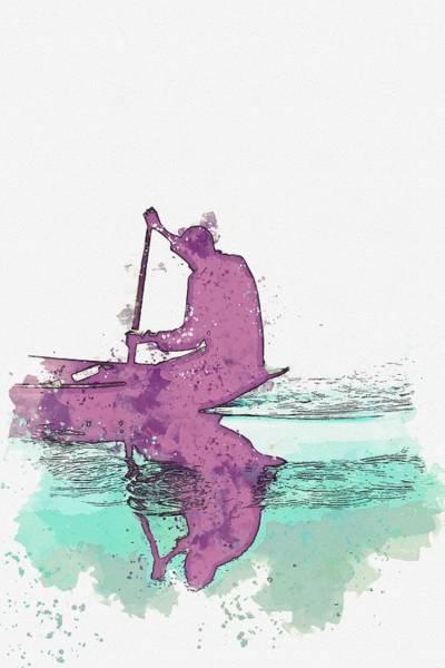 Painting - Fishing In Usuma Dam, Abuja, Nigeria -  Watercolor By Adam Asar by Adam Asar