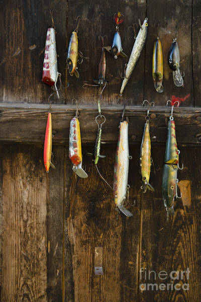 Wall Art - Photograph - Fishing Lure Hanging On Wall, Sandham by Bmj
