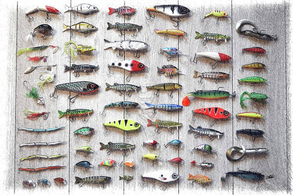 Drawing - Fishing Lures - Dwp2669219 by Dean Wittle
