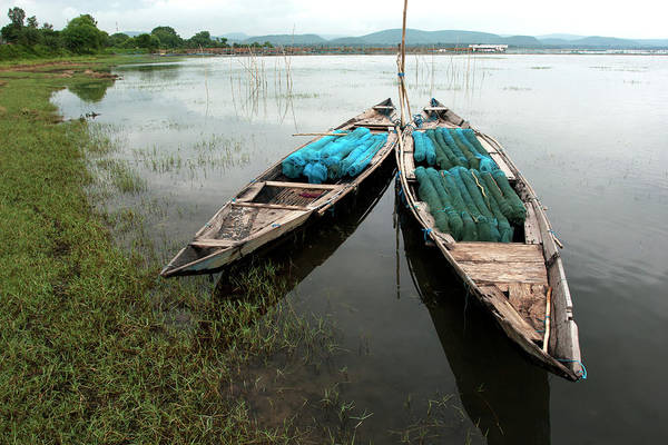 Fishing Boat Photograph - Fishing Net Upon Small Boats, Chilika by Partha Pal