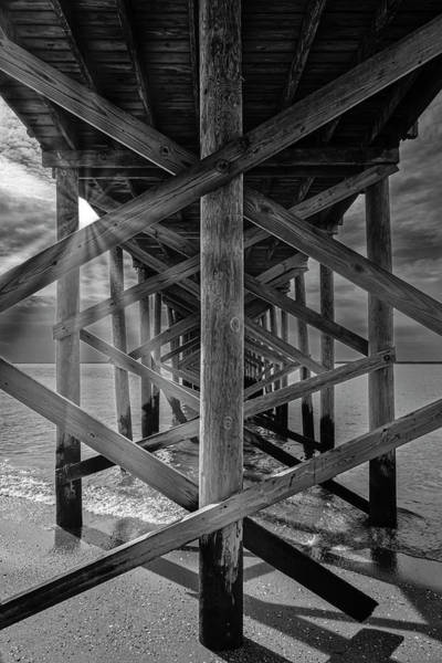 Photograph - Fishing Pier Keansburg Nj Bw by Susan Candelario