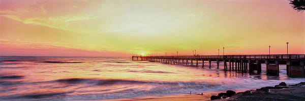 Wall Art - Photograph - Fishing Pier Over The Sea At Dusk, Gulf by Panoramic Images
