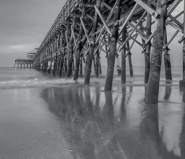 Photograph - Fishing Pier Reflection Black And White by Dan Sproul