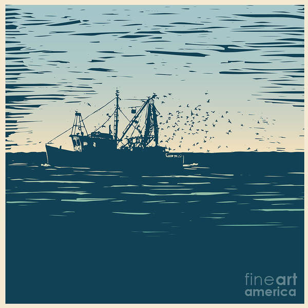 Wall Art - Digital Art - Fishing Schooner, Sea And Sea Gulls by Jumpingsack