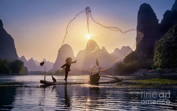 Wall Art - Photograph - Fishing The Sun by Jesús M. García