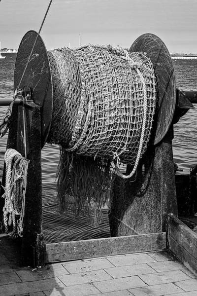 Photograph - Fishing Troller Nets Bw by Susan Candelario