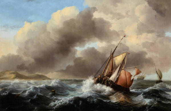 Wall Art - Painting - Fishing Vessels Offshore In A Heavy Sea, 1684 by Ludolph Backhuysen