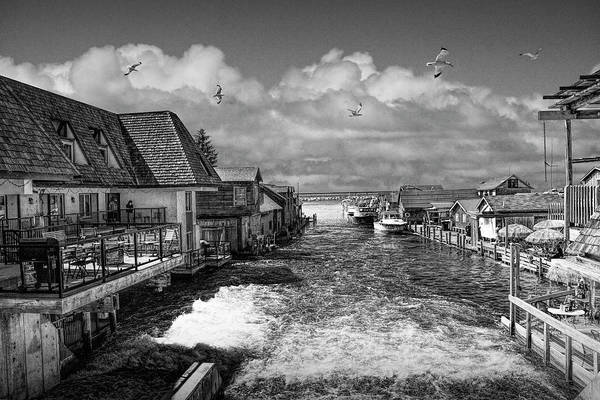 Wall Art - Photograph - Fishtown In Leland Michigan In Black And White by Randall Nyhof