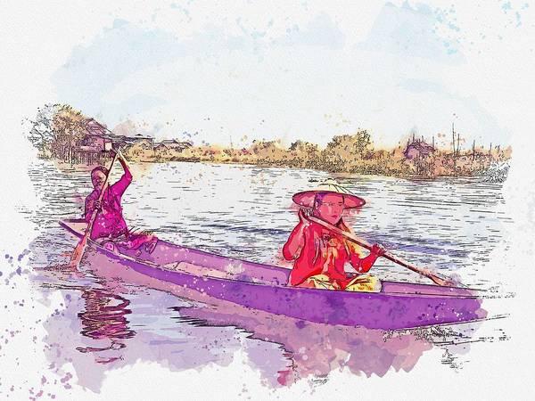 Painting - Fishwerwomen -  Watercolor By Adam Asar by Adam Asar