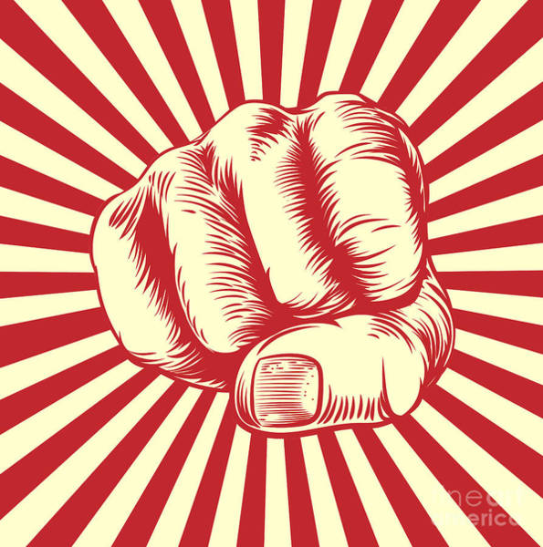 Engraved Digital Art - Fist Punching In A Vintage Propaganda by Christos Georghiou