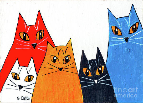 Wall Art - Painting - Five Cool Cats by Genevieve Esson