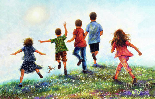 Wall Art - Painting - Five Country Children Running by Vickie Wade