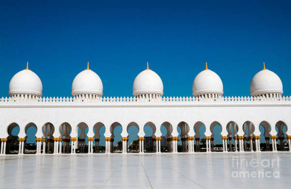 Wall Art - Photograph - Five Domes Of Sheikh Zayed Mosque In by In Green