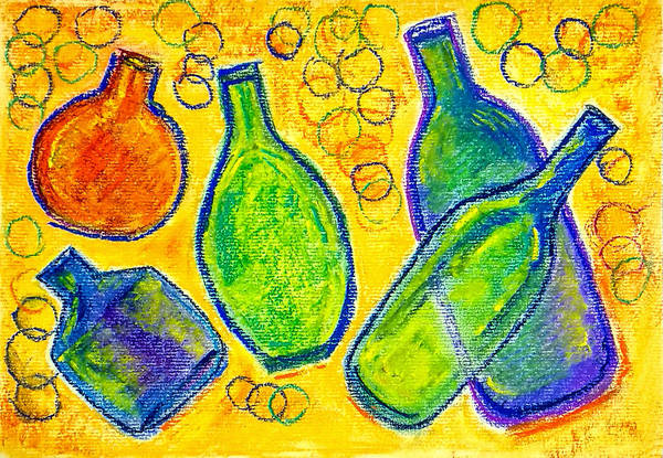Wall Art - Painting - Five Floating Bottles  by Asha Sudhaker Shenoy
