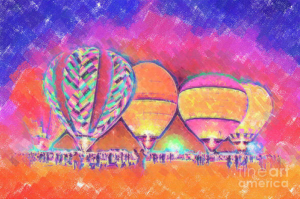 Digital Art - Five Glowing Hot Air Balloons In Pastel by Kirt Tisdale
