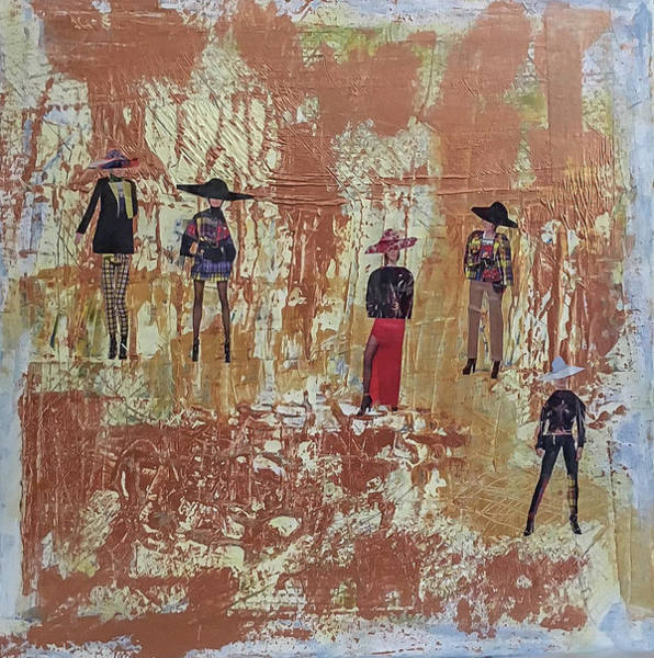 Wall Art - Mixed Media - Five Ladies by Mary Chris Hines
