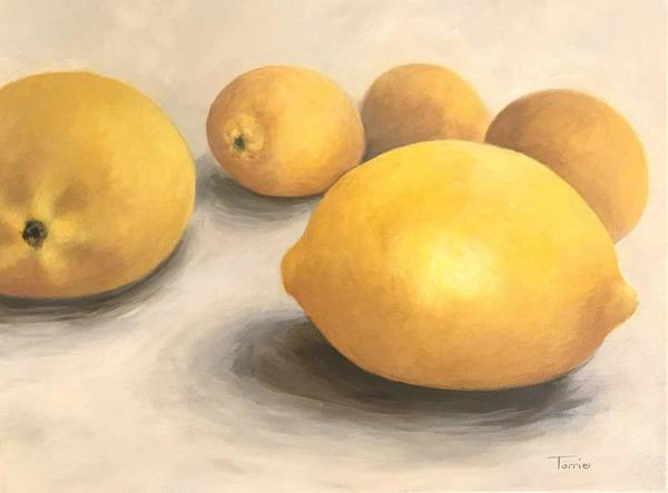 Wall Art - Painting - Five Lemons  by Torrie Smiley