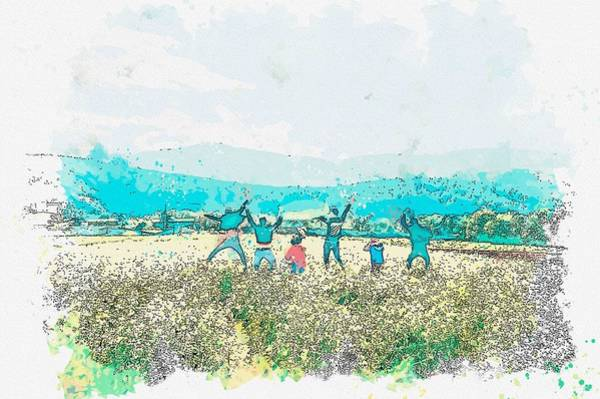 Painting - Five People Jumping In Open Field -  Watercolor By Adam Asar by Adam Asar
