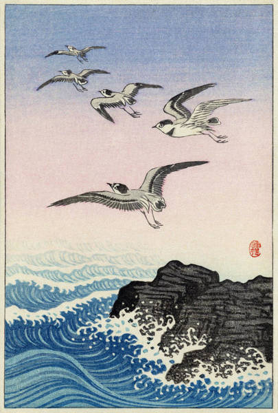 Digital Art - Five Seagulls Above Rock In The Sea By Koson by Ruth Moratz