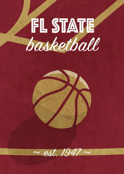 Wall Art - Mixed Media - Fl State University Retro College Basketball Team Poster by Design Turnpike