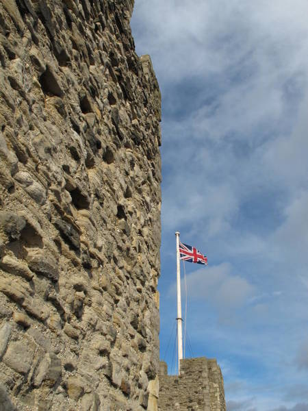 Rochester Photograph - Flag And Castle Wall by David M. Davies