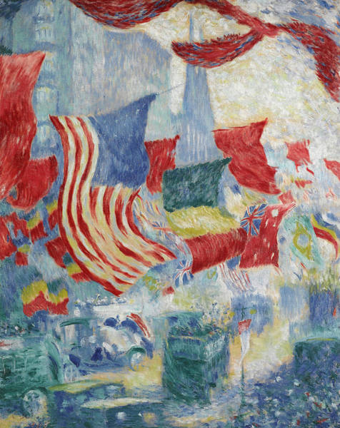 Wall Art - Painting - Flag Day In The United States by Theodore Earl Butler