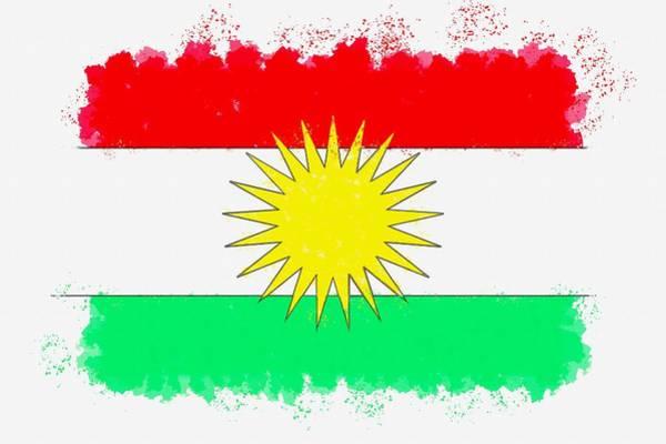 Painting - Flag Of Kurdistan Watercolor By Ahmet Asar by Ahmet Asar