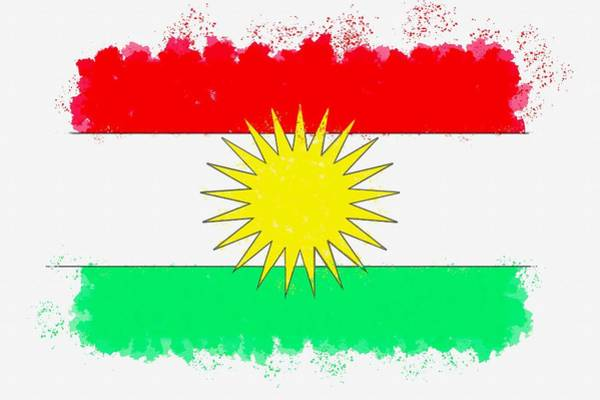 Wall Art - Painting - Flag Of Kurdistan Watercolor By Ahmet Asar by Celestial Images