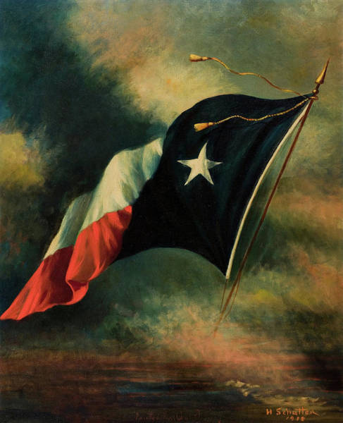 Lone Star Painting - Flag Of Texas, 1918 by Harco Schutter