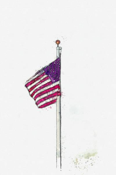 Wall Art - Painting - Flag Of The Brave -  Watercolor By Adam Asar by Celestial Images