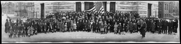 Wall Art - Photograph - Flag Raising At 8th St. Temple by Fred Schutz Collection