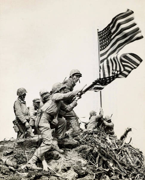 Wall Art - Painting - Flag Raising At Iwo Jima, 1945 by American School
