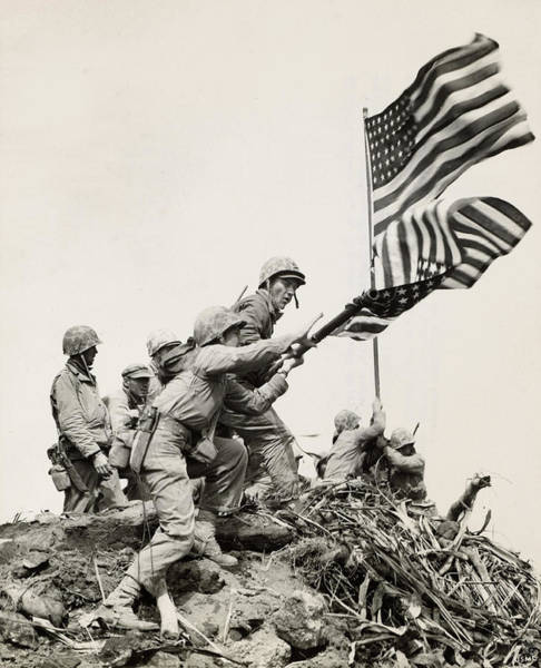 Wall Art - Painting - Flag Raising At Iwo Jima by American School