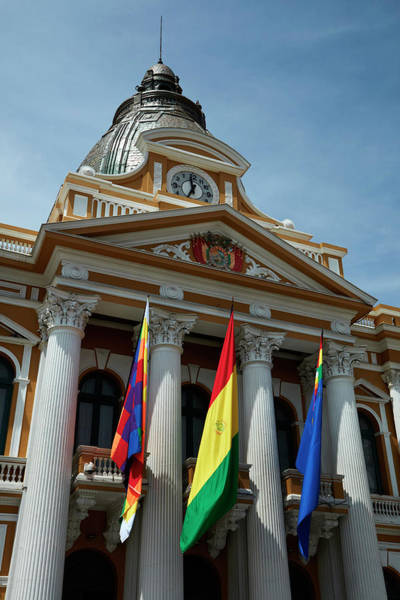 Senora Photograph - Flags On National Congress Of Bolivia by David Wall