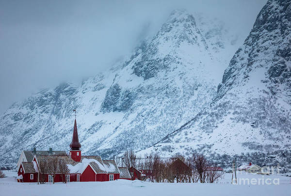 Wall Art - Photograph - Flakstad Kirke And Mountains by Inge Johnsson
