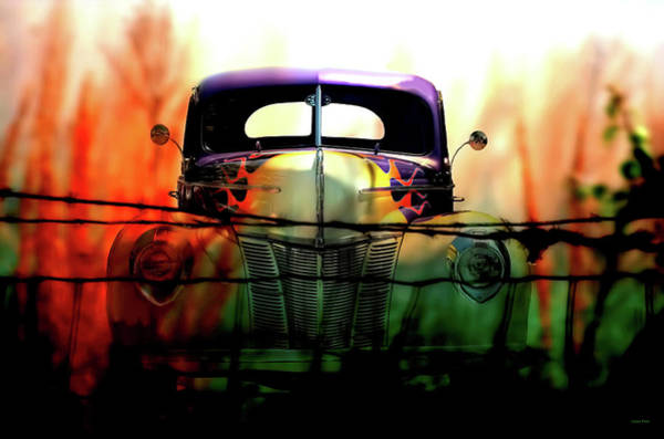 Mixed Media - Flamed And Barbed Vintage Car by Lesa Fine
